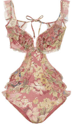 Zimmermann Melody Off-the-shoulder Ruffled Floral-print Swimsuit