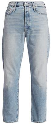 Mother Huffy Distressed High-Rise Flood Jeans