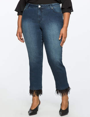 ELOQUII Feather Trim Hem Jeans