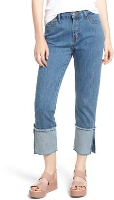 EVIDNT Cuffed Raw Hem Crop Jeans