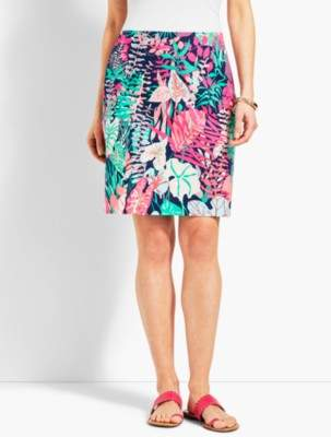 Talbots Jungle Botanical Stretch Cotton Canvas Skirt