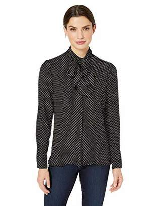 Lark & Ro Amazon Brand Women's Long Sleeve Tie Neck Blouse