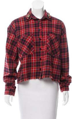 Pinko Distressed Plaid Button-Up