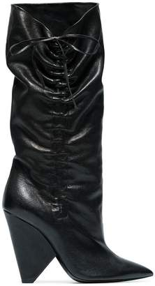black Niki 105 slouch leather boots