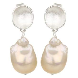 Carousel Jewels - Silver Nugget & Pearl Earrings