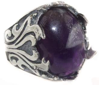 Express Falcon Jewelry Sterling silver men ring handmade, amethyst natural gemstone, Double-headed sword, Shipping
