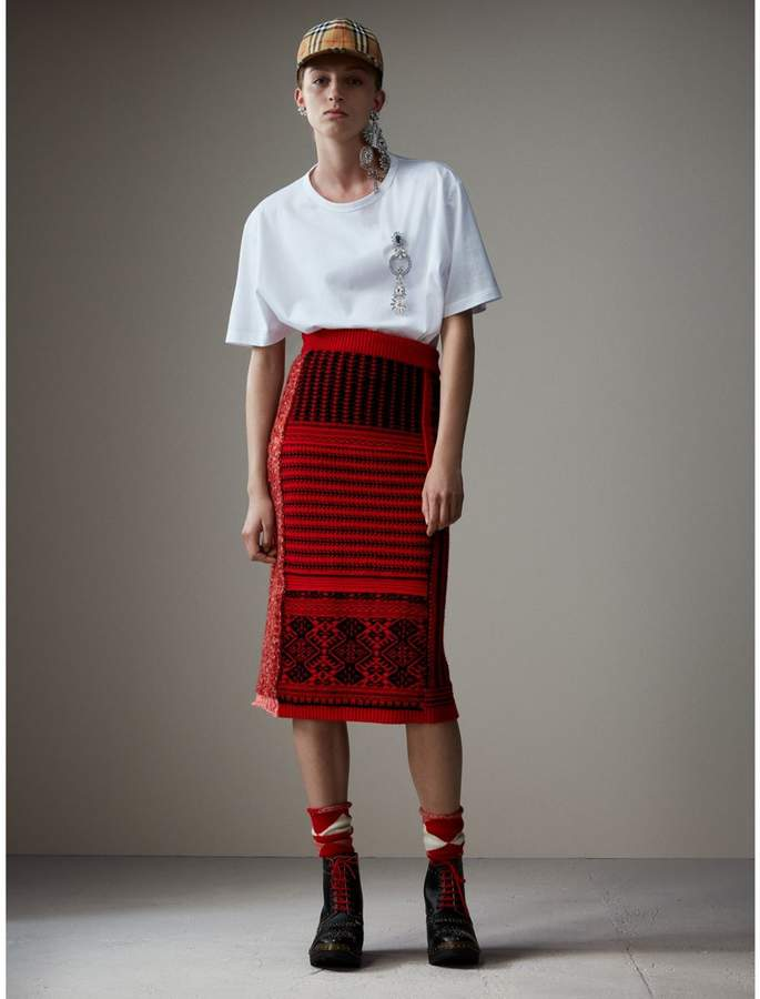 Burberry Geometric and Cable Knit Wool Cashmere Skirt