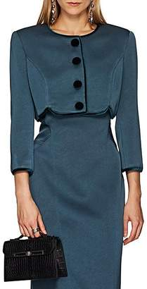 Zac Posen Women's Polished Crepe Crop Jacket - Blue