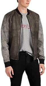 Barneys New York MEN'S DISTRESSED LEATHER BOMBER JACKET