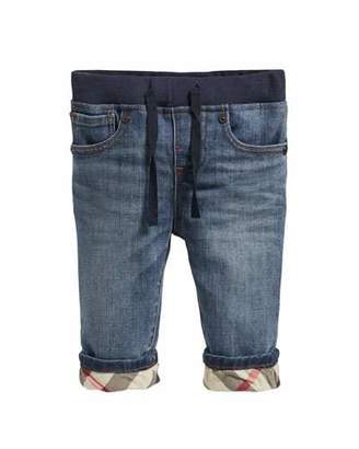 Burberry Pull-On Drawstring Jeans, Size 6M-3Y