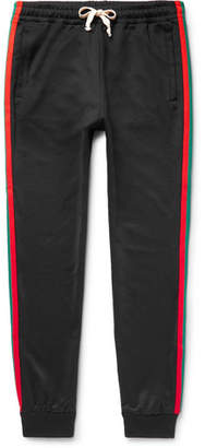 Gucci Tapered Webbing-Trimmed Tech-Jersey Sweatpants