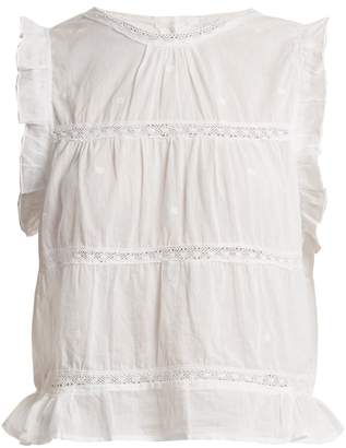 POUR LES FEMMES Ruffle-trimmed sleeveless cotton top