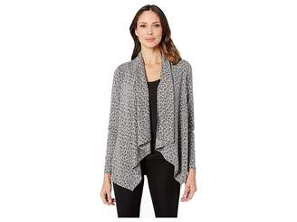 Bobeau B Collection by Printed French Terry Cardigan