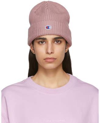 Champion Reverse Weave Pink Logo Beanie