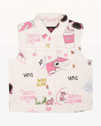 Juicy Couture Beach Doodle Denim Vest for Girls