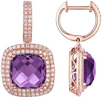 Diana M Fine Jewelry 14K Rose Gold 10.93 Ct. Tw. Diamond & Amethyst Earrings