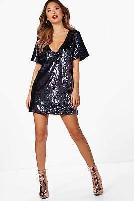 Boutique Jessica Sequin Plunge Neck Shift Dress in Purple größe 36