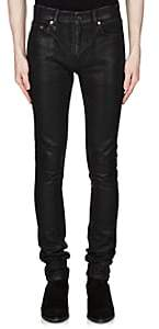 Saint Laurent Men's Waxed Skinny Jeans - Black