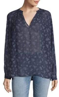 Vince Calico Floral Silk Shirt