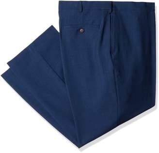 Haggar Men's Big and Tall Eclo Stria Gab Expandable Waist Plain Front Dress Pant