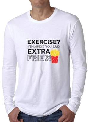 Hollywood Thread Exercise? I Thought You Said Extra Fries Workout Men's Long Sleeve T-Shirt