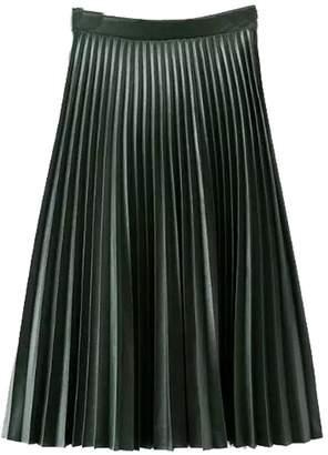 MorySong Women Retro High Waist Basic PU Leather Pleated A Line Midi Skirt M