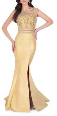 Terani Couture Glamour by Embellished Roundneck Gown