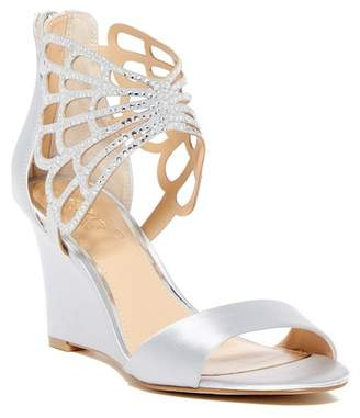 Badgley Mischka Taren Jeweled Cuff Wedge Sandal