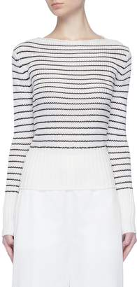 Theory Ribbed cuff stripe boat neck sweater