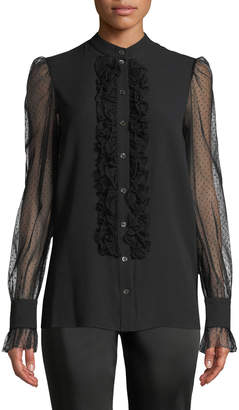 Michael Kors Sheer-Sleeved Ruffled Button-Front Blouse