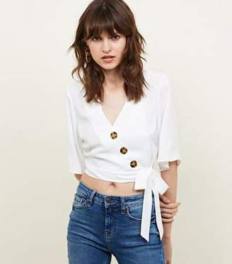 b5effc1db20 New Look Off White Button Tie Side Wrap Front Top