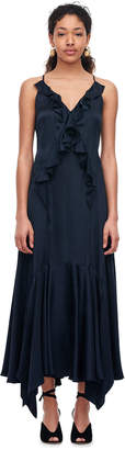 Rebecca Taylor Silk Charmeuse Ruffle Dress