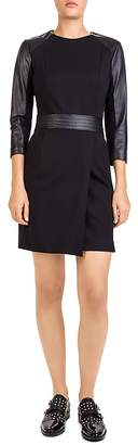 The Kooples Hopla Leather-Trimmed Crossover Dress