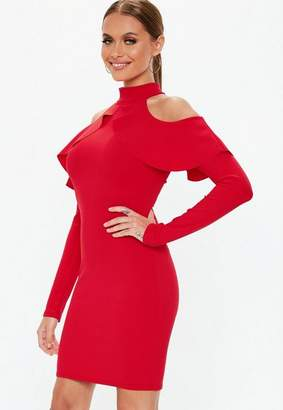 Missguided Red Frill Cold Shoulder Long Sleeve Mini Dress, Red