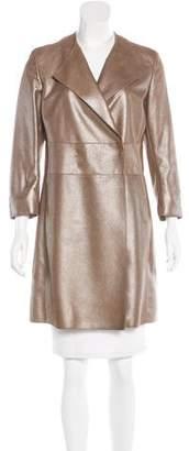 Akris Leather Metallic Coat