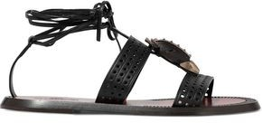 Valentino Embellished Perforated Leather Sandals