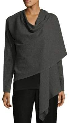 Eileen Fisher Angle Front Wool Wrap Cardigan