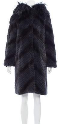 Michael Kors Fox Fur-Trimmed Mink Coat