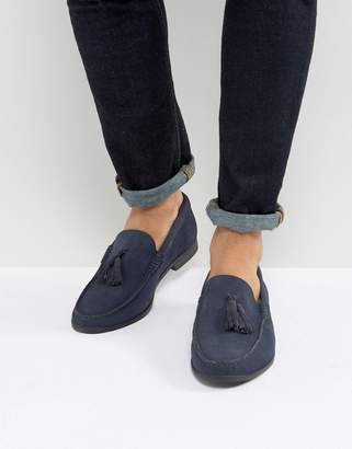 Frank Wright Tassel Loafers In navy Suede