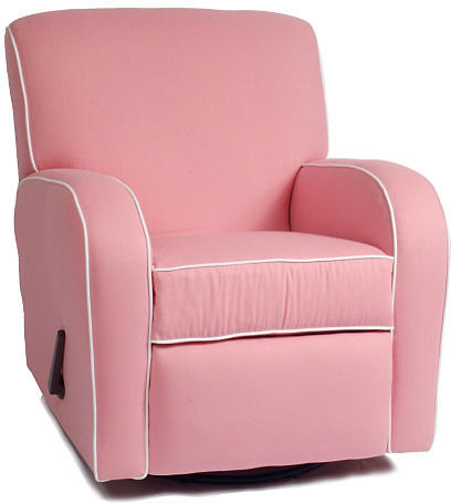 Oxford The Kacy Collection Silhouette Curve Arm Recliner - Pink with White Piping Fabric