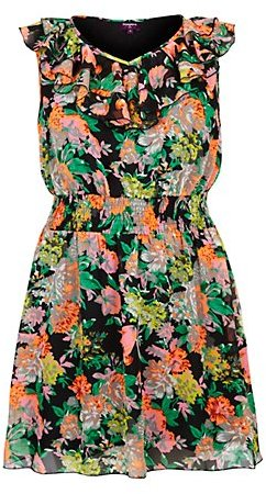 New Look Inspire Black Neon Floral Ruffle Neck Dress