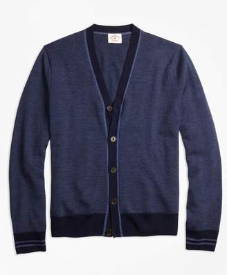 Brooks Brothers Striped Merino Wool Cardigan