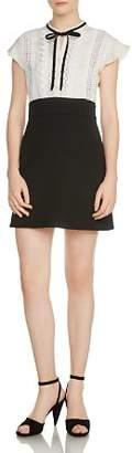 Maje Runo Two-Tone Lace-Inset Mini Dress