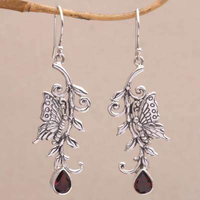 Beloved Butterfly Garnet and Sterling Silver Butterfly Dangle Earrings