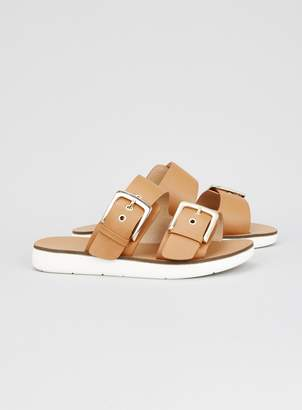 4ead55be813 Evans EXTRA WIDE FIT Tan Two Buckle Flat Sandals