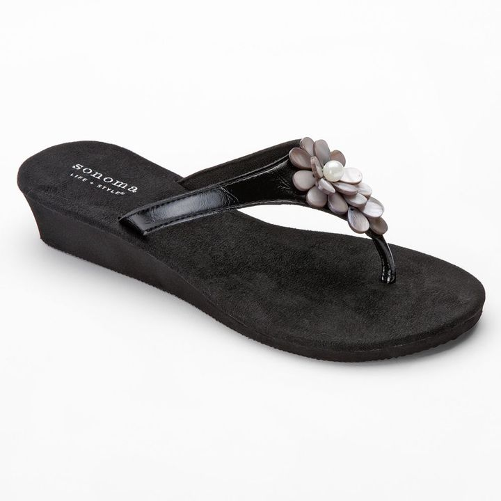 Sonoma life + style ® cluster floral wedge flip-flops - women