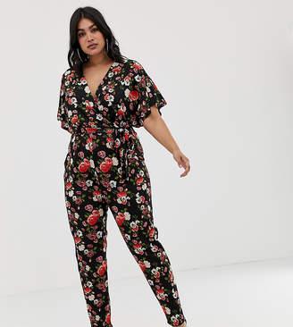 ebbe9ef90b0 Pink Clove wrap jumpsuit in rose print