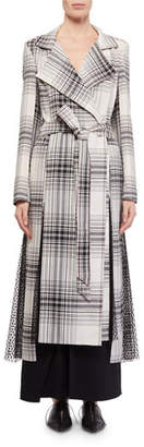 Roland Mouret Drummond Plaid Cotton Trench Coat