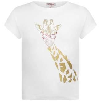 Lili Gaufrette Lili GaufretteGirls White Giraffe Print Top