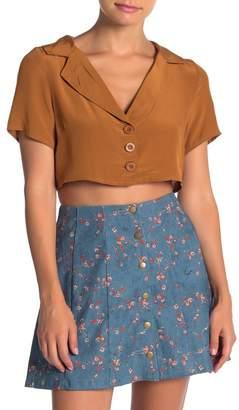Wild Honey Short Sleeve Button Up Crop Top